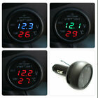 New 3 in 1 Digital LED Voltmeter Thermometer Auto Car USB Charger 12V/24VIZ
