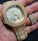 MEN'S HIP HOP ICED OUT GOLD PT LAB DIAMOND WATCH & FULL ICED RING COMBO GIFT SET image