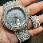HIP HOP ICED OUT SILVER PLATED LAB DIAMOND WATCH & FULL ICED RING COMBO GIFT SET image