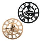Retro Skeleton Clock Black/Gold Acrylic Round 30cm For Steampunk Home Wall Decor