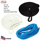 "(Pair)5/8Inch 25FT Double Braid Nylon Dockline Dock Line Mooring Rope 15""Eye EAN"