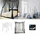 US 4 Corner Post Bed Canopy Mosquito Net Full Queen Netting Bedding Easy Install image