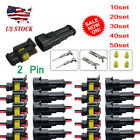10/20/30/40/50 sets Kit 2 Pin Waterproof Electrical Wire Connector Plug Car Auto