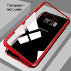 For Samsung Galaxy S9 S8 S7 Plus Magnetic Adsorption Tempered Glass Case Cover