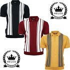 Relco Mens Striped Knitted Cotton Acrylic Polo Navy Burgundy Mustard Mod Retro