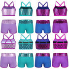 2PCS Kid Girls Tankini Outfit Sleeveless Ballet Dance Suit Set Tops with Bottoms