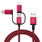 Wholesale 1M Quick Charger 3 in 1 USB Cable Powerline for iPhone Android