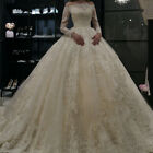 Princess Ball Gown Wedding Dresses Long Sleeve Bridal Gowns Lace Bride Dress