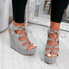 WOMENS LADIES HIGH WEDGE HEEL SANDALS PLATFORMS CROSS LACE PEEP TOE SHOES SIZE