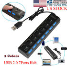 7 Port USB 2.0 Hub 5Gbps High Speed On/Off Switches AC Adapter for PC Laptop Mac