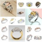 Flower 925 Silver Rose Gold Two Tone Gold White Topaz Ring Bridal Jewelry Gift