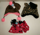 Wonderkids Girls Hat Mitten Set Fleece Animal Print Faux Fur Pink Stars OSFM NWT