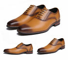 Men Oxfords Breathable Leather Busienss Dress Formal Round Toe Lace up Shoes Hot