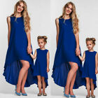 US Family Matching Clothes Women Girls Mother and Daughter Solid Dres