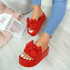 WOMENS LADIES HIGH HEEL FLATFORMS SLIDERS BOW PEEP TOE SANDALS SUMMER SHOES SIZE