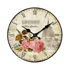 Vintage Wooden Wall Clock Large Shabby Chic Rustic Kitchen Home Decor Crafts