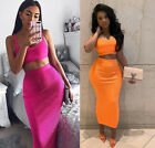 Summer Sexy Strap Cotton Tank Tops Skirts 2 Pcs Suits Women Pink Casual Sets