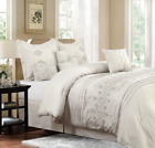 Queen or King Size Comforter Set Ivory Bedding Elegant Embroidered Pillows 7 PC image