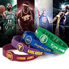 NBA Basketball Bracelet Sports Silicone Wristband Strap Metal Adjustable Buckle