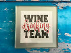 Coaster Drink Mat Gift - Black or Silver - Wine Drinking Team - Wine - Gift