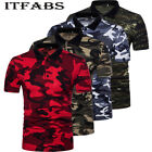 Mens Classic Short Sleeve Summer Golf Camo Shirts Solid T-Shirt Casual Tops Tee image