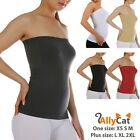 Women's Seamless Bandeau Tube Top Ribbing Bottom Slimming Shirt Summer Beach Tee