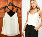 New Look Womens Black Lace Insert Off White Double Strap Cami Top Sizes 6 to 18