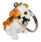 Personalised / engraved dog keyring british bull dog puppy in gift pouch T3C