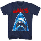 Jaws Halftone Shark Attack Men's T Shirt Teeth Bite Spielberg Movie Merch Navy