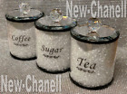 CRYSTAL FILLED TEA COFFEE SUGAR CANISTERS JARS STORAGE 5 COLOURS TRIMMINGS UK