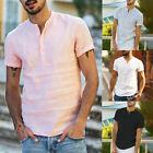Summer Mens Cotton Linen T Shirt Tops Casual Loose V Neck Short Sleeve Tee image