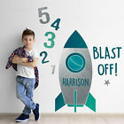 Personalised blast off rocket wall sticker | Space themed wall stickers