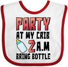 Inktastic Party At My Crib 2 A.m. Bring Bottle Baby Humor Baby Bib Funny Gift