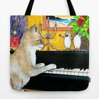 Tote bag All over print Cat 506 playing piano mouse funny art painting L.Dumas