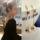 Women Bling Ball Earrings Long Chain Drop Dangle Fashion Earrings Jewelry Uk