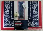"NEW 36"" TABLE RUNNER PATRIOTIC 4th FOURTH OF JULY RED WHITE & BLUE STARS PAISLEY"