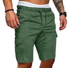 USSTOCK Mens Summer Shorts Gym Sport Running Workout Cargo Pants Jogger Trousers