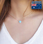 Genuine 18k Gold Plated Chain With Opal Love Heart Pendant Choker Necklace
