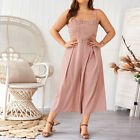 Women Strappy Sleeveless Jumpsuit Wide Legs Ladies Casual Palazzo Pants Playsuit