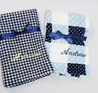 Внешний вид - Personalized Minky Baby Boy Blue Blanket in Houndstooth Plaid or Patchwork