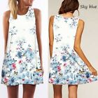 Womens A Line Printing Round-Neck Strapless Dresses Summer Casual Short Clothes