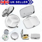 Travel Silver Metal Pill Box Medicine Organizer Container Jewellery Storage Uk