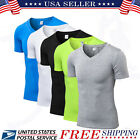 Men's Compression V-Neck Sports T-shirt Short Sleeve Workout Fitness Skin Shirt image