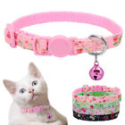 Floral Cat Breakaway Collar  Name Tag Personalized Safety Quick Release Buckle