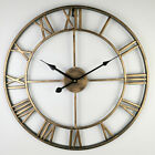 US Large Wall Clock Metal Roman Numeral 40 60CM Round Black Gold Q3H4P