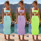 2 Pcs Set Dress Criss Cross Crop Tank Top Bodycon Bandage Long Skirt Outfits