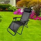 Heavy Duty Zero Gravity Folding Lounge Beach Chair Patio Square Frame Black