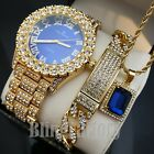 MEN'S ICED HIP HOP BLUE FACE WATCH & FULL ICED NECKLACE & BRACELET COMBO SET  image