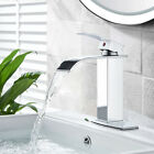 Waterfall Spout Bathroom Basin Sink Faucet Single Hole Mixer Tap Deck Mounted