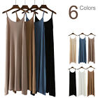 Stretchy Strappy Knitted Cami Fitted Jersey Tank Top Midi Dress Slip Under Dress